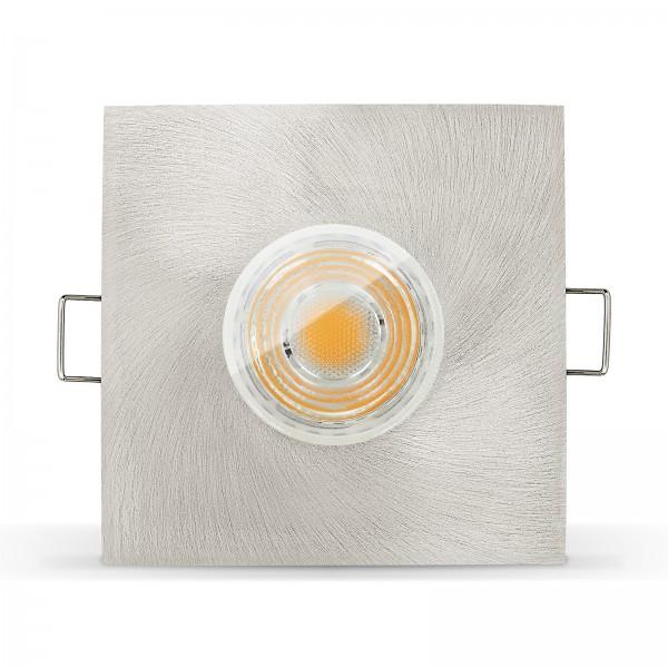 LED Bad Einbaustrahler Set IP65 dimmbar + Einbaurahmen 230V 10W GU10 eisen gebürstet