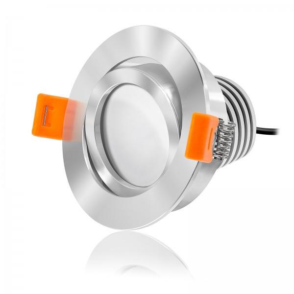 LED Einbaustrahler Set dimmbar inkl. Einbaurahmen chrom - Modul 10W 230V nur 50mm 100W Ersatz