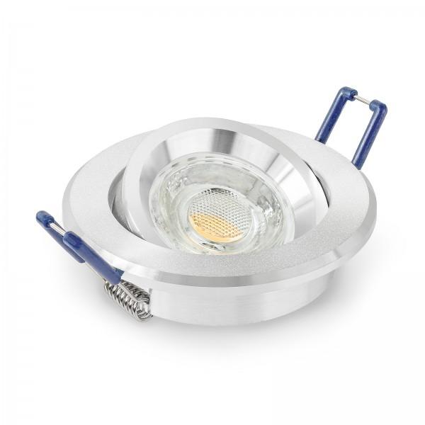 LED Einbaustrahler Set dimmbar & schwenkbar inkl. Einbaurahmen sandgestrahlt 230V 10W GU10 3000k
