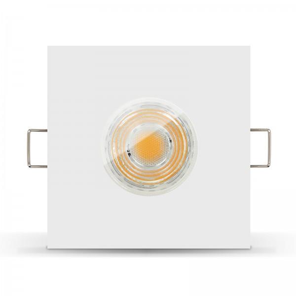 LED Bad Einbaustrahler Set IP65 dimmbar + Einbaurahmen weiß eckig 230V 10W GU10