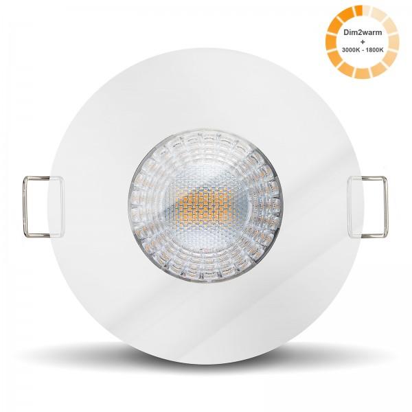 LED Einbaustrahler Set dimmbare steuerbare Farbtemperatur 1800K-3000K inkl. Einbaurahmen 230V 7W 24m