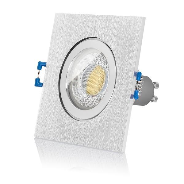 LED Bad Einbaustrahler Set IP44 dimmbar inkl. Einbaurahmen gebürstet 230V 7W GU10 3000k warmweiß