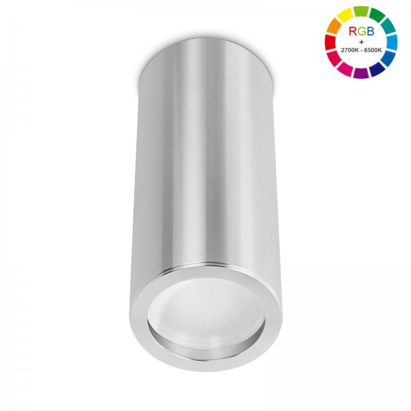 Smart Home Tube Pure LED Aufbauleuchte silber poliert 17cm 230V 5W RGB + 6W 2700K - 6500K mit Ra>90