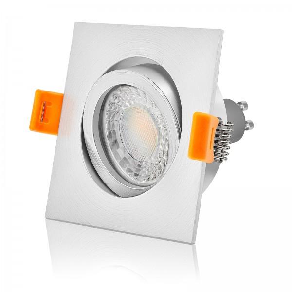 LED Einbaustrahler Set dimmbar & schwenkbar inkl. Forma EM Einbaurahmen silber fein gebürstet 230V 7W GU10 warmweiß