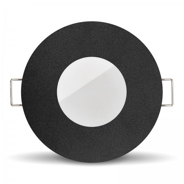 LISTA AQUA LED Bad Einbaustrahler Set IP65 dimmbar inkl. Einbaurahmen schwarz 230V 6W Modul inkl. Mini Trafo Ra>80 - frontansicht