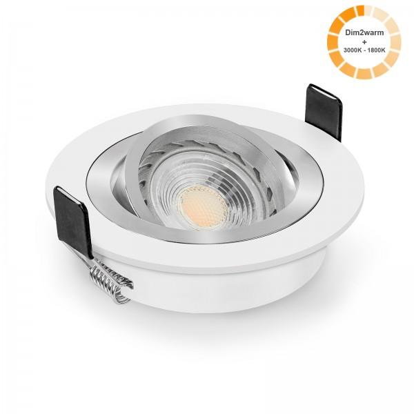 LED Einbaustrahler Set dimmbare Farbtemperatur 1800K-3000K dim2warm inkl. Einbaurahmen Bicolor weiß rund 230V 7W GU10 Ra>96