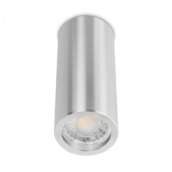 Tube Pure Aufbauleuchte - Aufbaurahmen silber poliert Aluminium 17cm 230V 7W GU10 3000K
