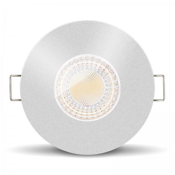 LISTA AQUA LED Bad Feuchtraumleuchte IP65 dimmbar inkl. Einbaurahmen silber 230V 7W GU10 Ra>93