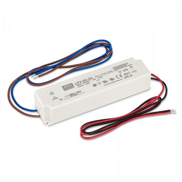 Led Trafo von Mean Well IP67 60W 24V / DC Konstantspannung nicht dimmbar Überlastschutz