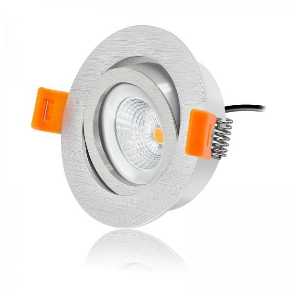 LED Einbauleuchten Set dimmbar inkl. Forma Einbaurahmen rund gebürstet 230V 6W 2700K warmweiß extra flach mit Ra>90
