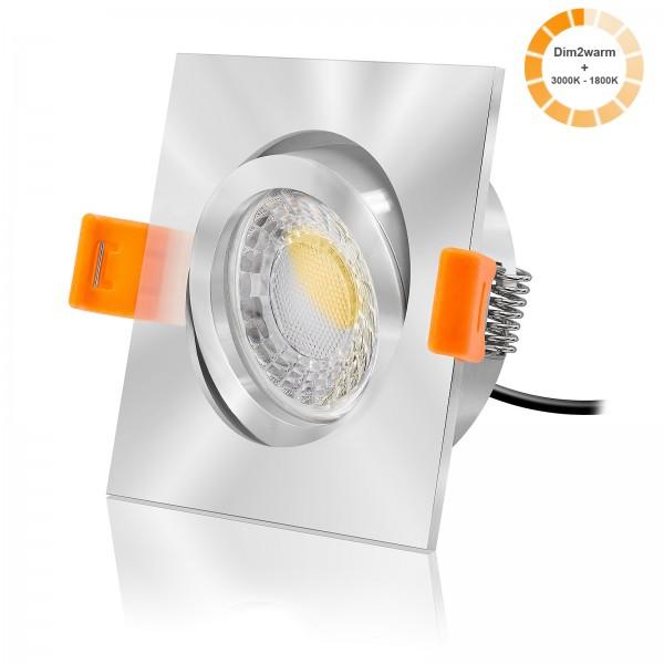 LED Einbaustrahler Set dimmbare Farbtemperatur 1800K-3000K inkl. Forma EC Einbaurahmen 230V 7W Modul extra flach