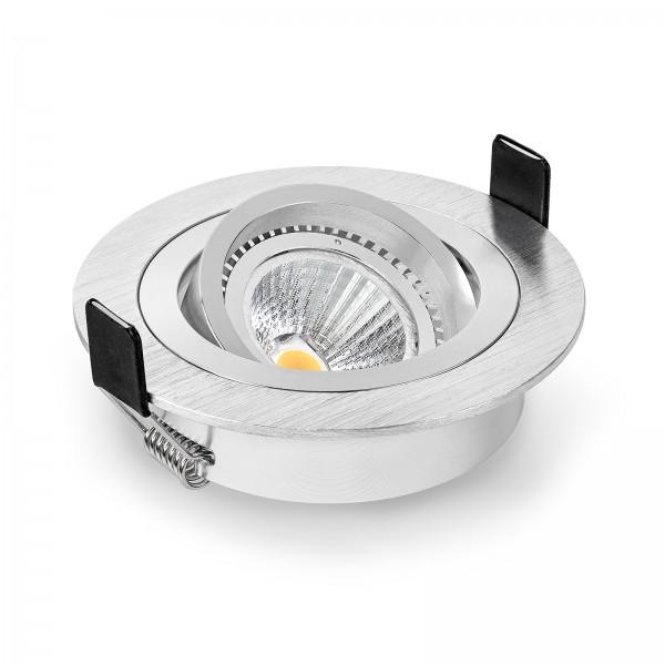 LED Einbaustrahler Set dimmbar & schwenkbar inkl. Einbaurahmen gebürstet 230V 6W GU10 mit Reflektor