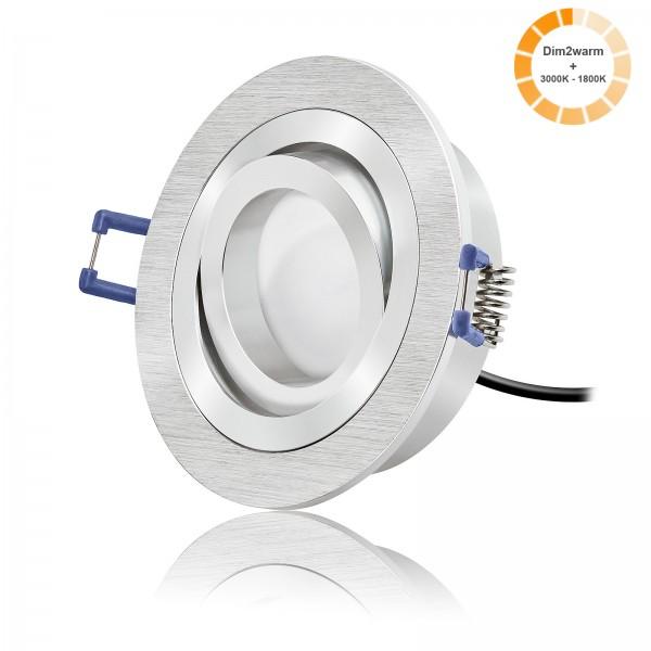 LED Einbauspot Set dimtowarm & schwenkbar inkl. Bicolor Einbaurahmen 230V 7W Modul 1800K-3000K warmweiß Ra>95