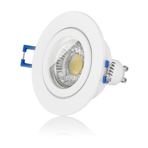 LED Bad Einbauleuchte Set IP44 dimmbar inkl. Einbaurahmen weiß 230V 6W GU10 Badbeleuchtung mit Ra>90