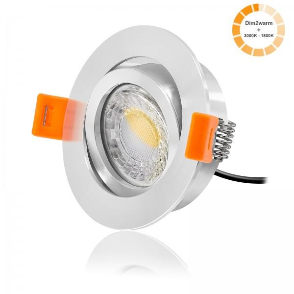 LED Einbaustrahler Set dimmbare Farbtemperatur 1800K-3000K inkl. Premium Einbaurahmen 230V 7W Modul