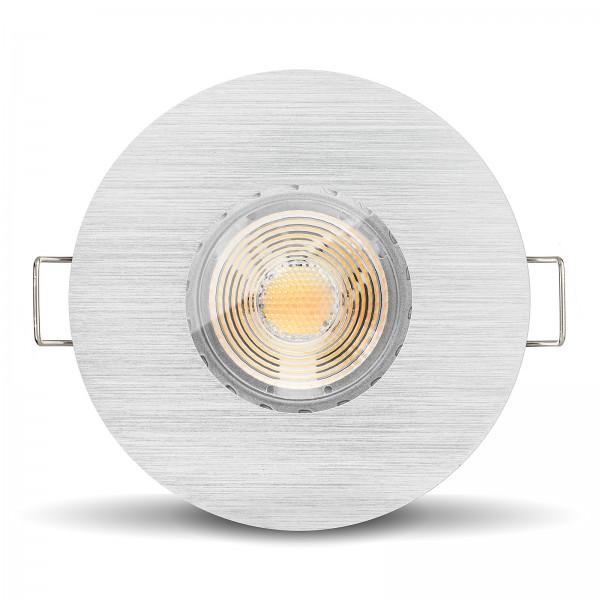 LED Bad Einbaustrahler Set dimmbare Farbtemperatur 1800K-3000K + Einbaurahmen 230V 7W GU10 Ra >96