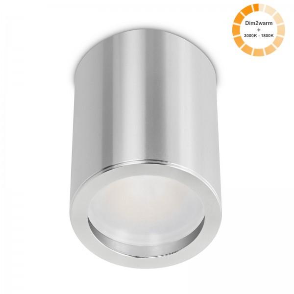 Tube Pure Aufbauleuchte - 230V 7W Modul dimm2warm - 120° Abstrahlung - dimmbar - Aufbaurahmen silber poliert Aluminium 10cm
