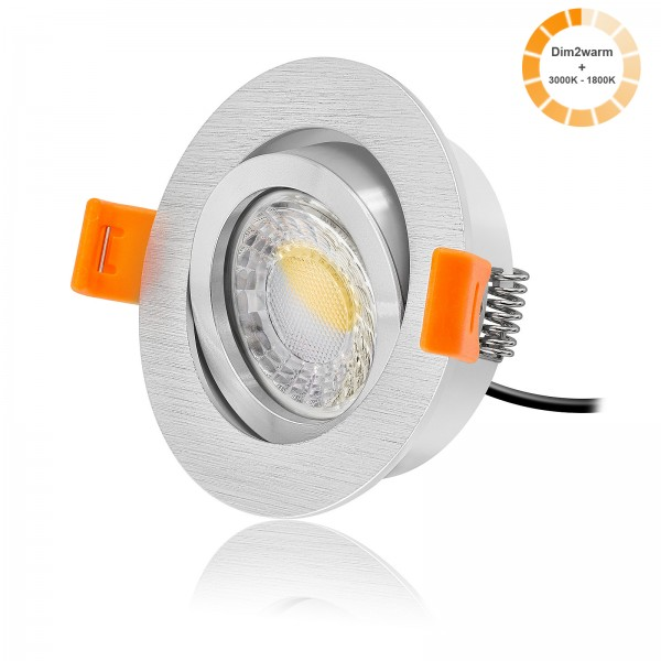 LED Einbaustrahler Set dimmbare Farbtemperatur 1800K-3000K inkl. Forma R Einbaurahmen Ring poliert 230V 7W Modul dimtowarm