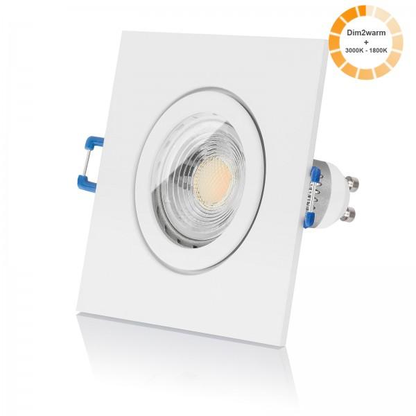 LED Bad Einbaustrahler Set IP44 dimmbare Farbtemperatur 1800K-3000K inkl. Einbaurahmen eckig weiß 230V 7W GU10 dimtowarm