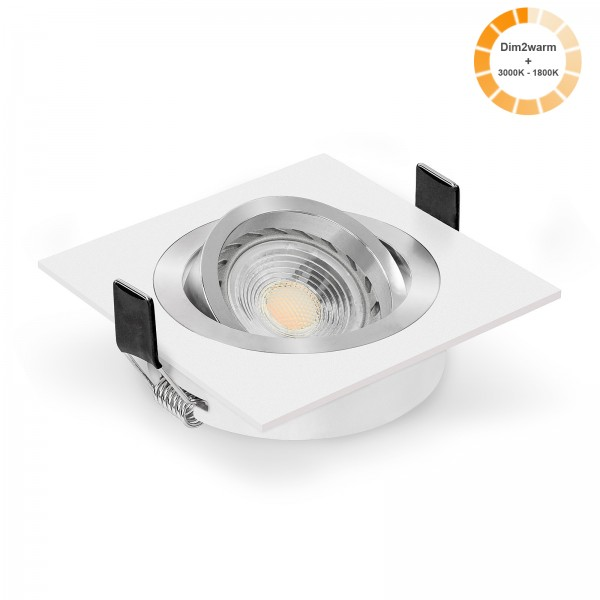 LED Einbaustrahler Set dimmbare Farbtemperatur 1800K-3000K dim2warm inkl. Einbaurahmen Bicolor weiß eckig 230V 7W GU10 Ra>96