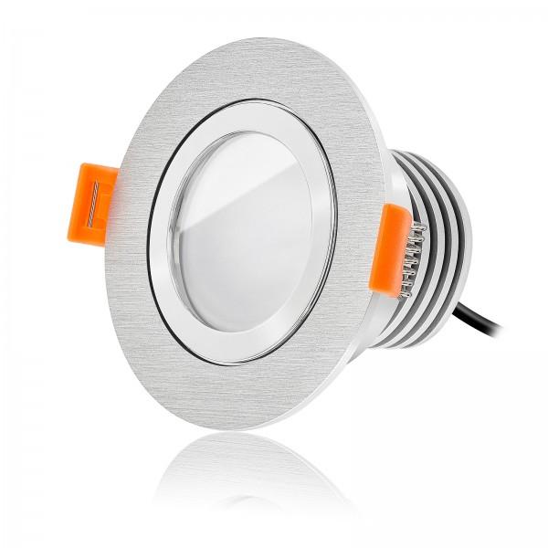 Ledox LED Bad Einbaustrahler Set IP44 dimmbar inkl. Forma Aqua R Bicolor Einbaurahmen gebürstet 230V 10W Modul