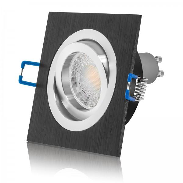 LED Einbauleuchte Set dimmbar & schwenkbar inkl. Einbaurahmen 230V 7W GU10 3000k warmweiß