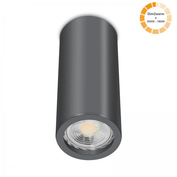 Tube Pure Aufbauleuchte - Aufbaurahmen anthrazit Aluminium 17cm 230V 7W GU10 1800-3000K dimtowarm