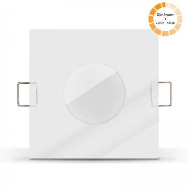 Ledox Lista Aqua LED Bad Einbaustrahler Set IP65 dimmbare steuerbare Farbtemperatur 1800K-3000K Einbaurahmen 230V 7W