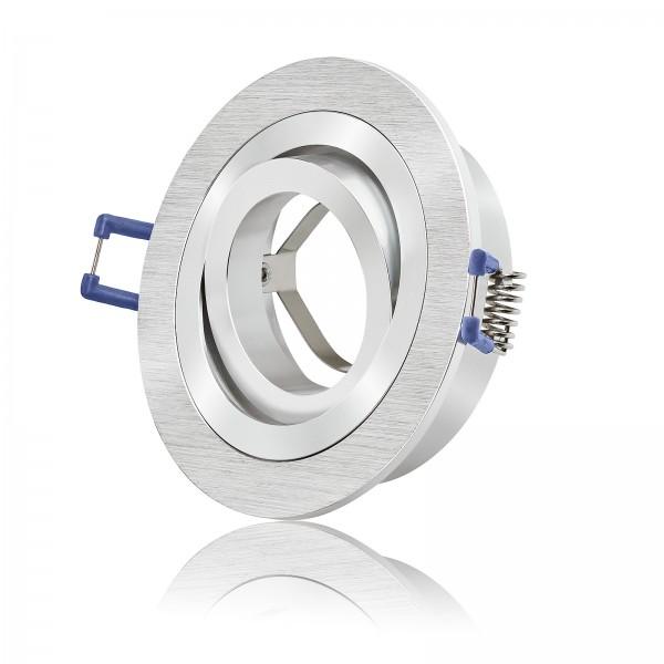 Bicolor Einbaurahmen aus Aluminium in rund gebürstet schwenkbar geeignet für Led & Halogen Leuchtmittel