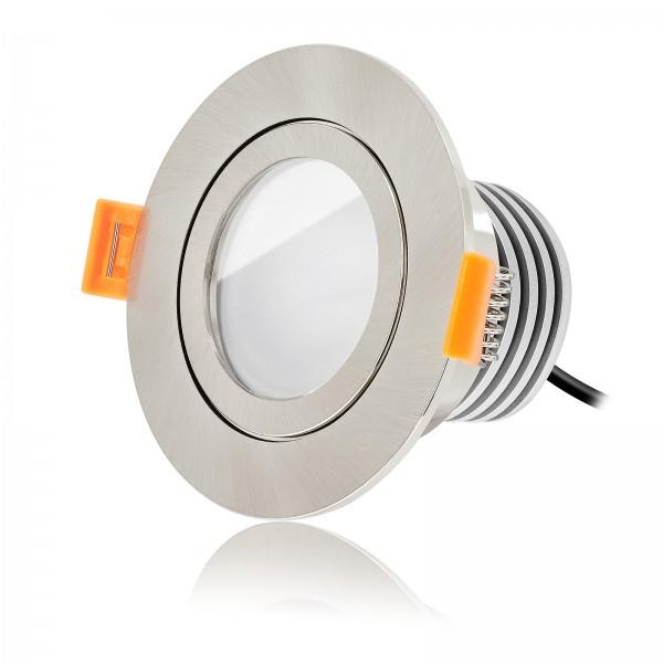 Ledox LED Bad Einbaustrahler Set IP44 dimmbar inkl. Forma RE Einbaurahmen eisen gebürstet 230V 10W Modul