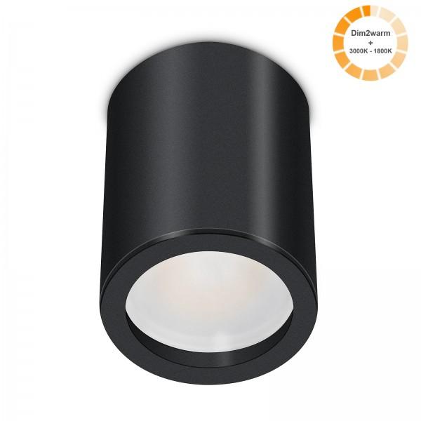 Tube Pure Aufbauleuchte - 230V 7W Modul dimm2warm - 120° Abstrahlung - dimmbar - Aufbaurahmen schwarz Aluminium 10cm