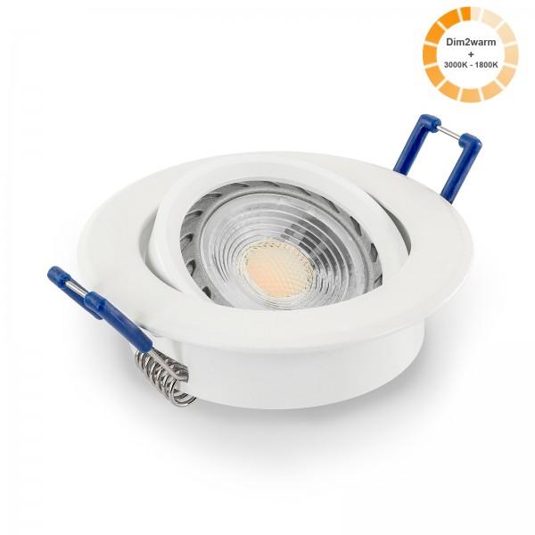LED Einbaustrahler Set dimmbare Farbtemperatur 1800K-3000K inkl. Einbaurahmen 230V 7W GU10 Ra >96