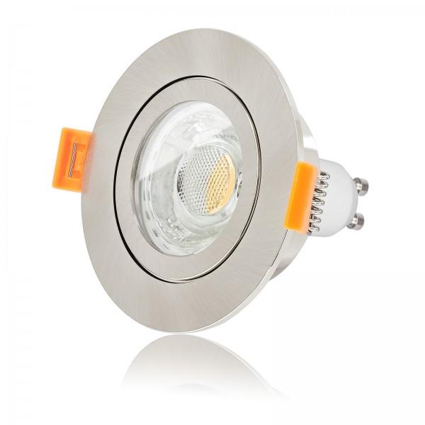 LED Bad Einbaustrahler Set IP44 dimmbar inkl. FORMA AQUA RE Einbaurahmen gebürstet 230V 10W GU10 3000k warmweiß