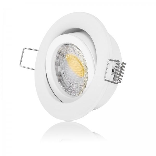 LED Einbaustrahler Set - dimmbar inkl. Einbaurahmen weiß   230V 7W 24mm EXTRA FLACH