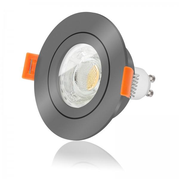 FORMA AQUA RA LED Bad Einbaustrahler Set IP44 dimmbar inkl. Einbaurahmen anthrazit 230V 10W GU10