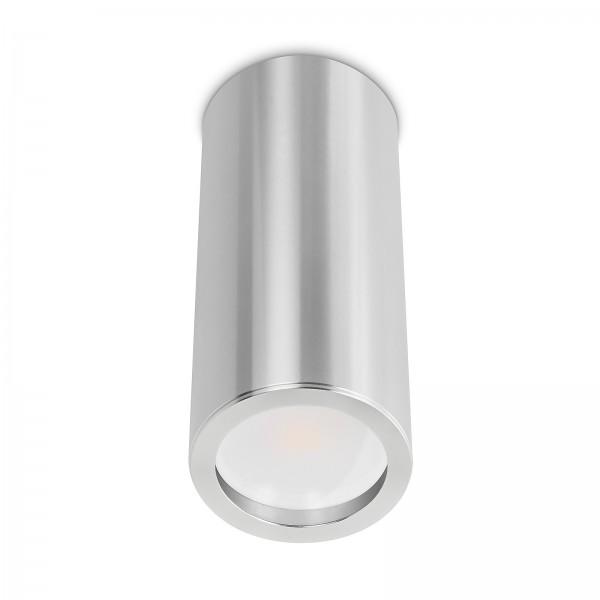 Tube Pure Aufbauleuchte - 230V 7W GU10 120° AW - dimmbar - Aufbaurahmen silber poliert Aluminium 17cm