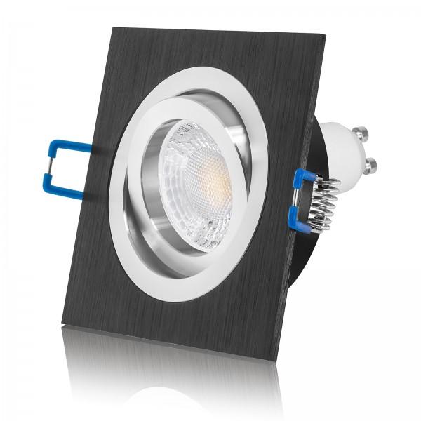 LED Einbaustrahler Set dimmbar & schwenkbar inkl. Einbaurahmen Bicolor 230V 7W GU10 mit Ra>93
