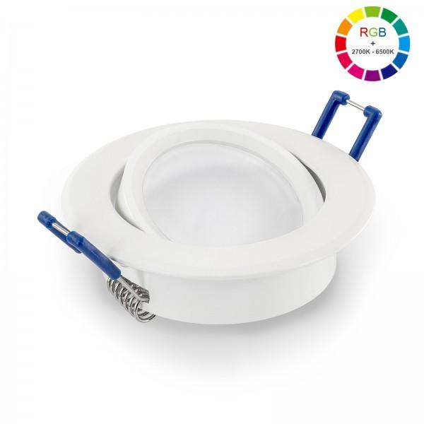Led Premium Einbaustrahler Set dimmbar & schwenkbar inkl. Einbaurahmen und Led Leuchtmittel Modul RGB + 2700k - 6500K