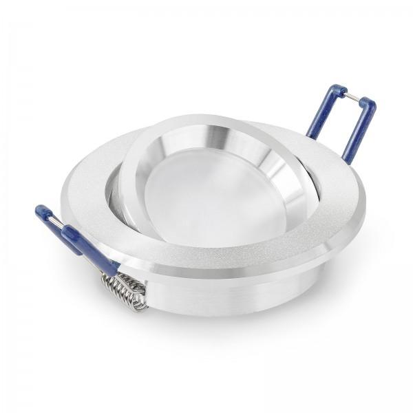 LED Einbaustrahler Set dimmbar & schwenkbar inkl. Bicolor Einbaurahmen rund sandgestrahlt 230V 6W Modul inkl. Trafo