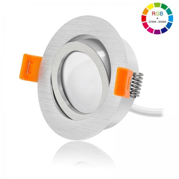 FORMA R LED Einbaustrahler Set dimmbar & schwenkbar inkl. Einbaurahmen gebürstet 230V 11W Modul RGB WWW alle Farben