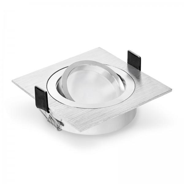 LED Einbaustrahler Set dimmbar & schwenkbar inkl. Einbaurahmen Bicolor eckig gebürstet 230V 6W Modul 2700K 3000K 4000K