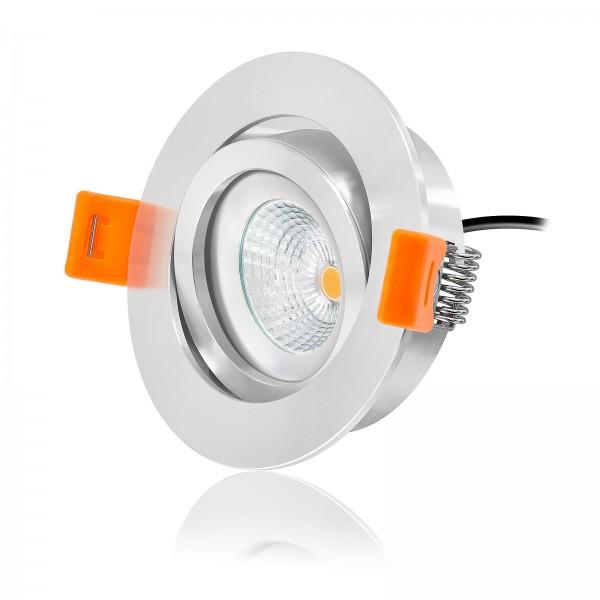 Ledox® Led Einbaustrahler Set dimmbar & schwenkbar inkl. Premium Einbaurahmen Forma poliert 230V 6W Modul inkl. Trafo 2700k warmweiß flach Decken-einbau-lampe-leuchte-beleuchtung Ra>90