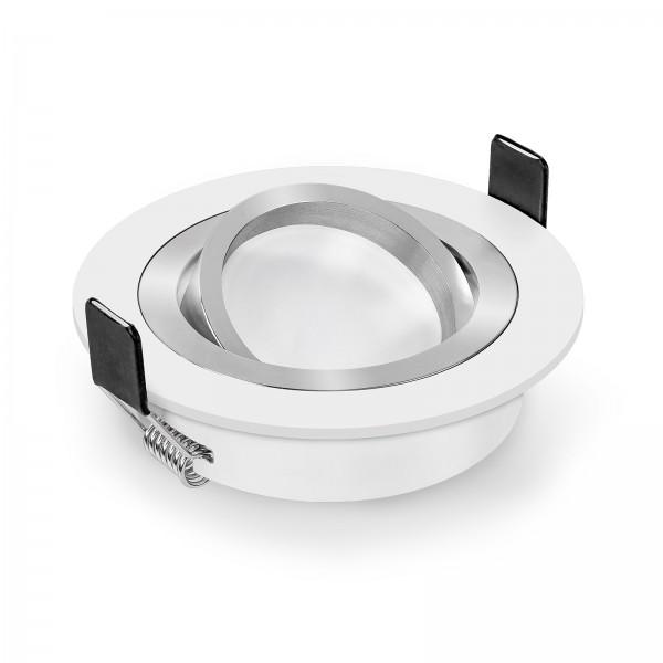 Led Premium Einbaustrahler Set dimmbar & schwenkbar inkl. Einbaurahmen Bicolor weiß und Led Leuchtmittel Modul RGB + 2700k - 6500K
