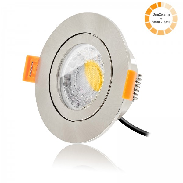 LED Bad Einbauspot Set IP44 dimmbare Lichtfarbe 1800K-3000K inkl. Forma Aqua Einbaurahmen 230V 7W Modul warmweiß