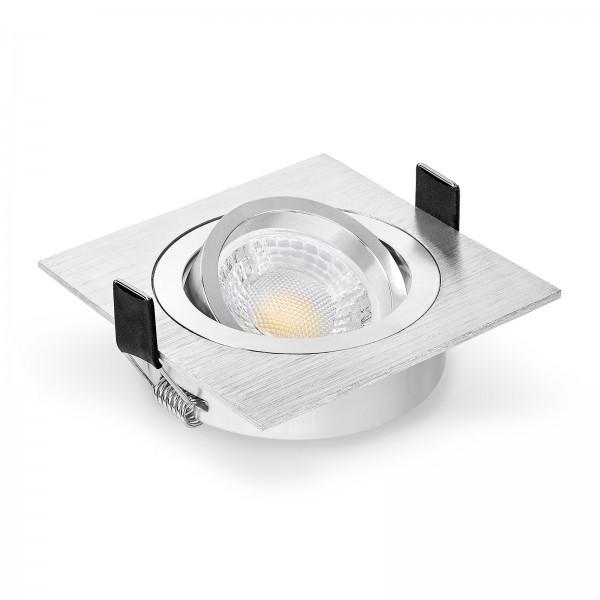 LED Einbaustrahler Set dimmbar & schwenkbar inkl. Einbaurahmen Bicolor gebürstet 230V 7W GU10 Ra>93