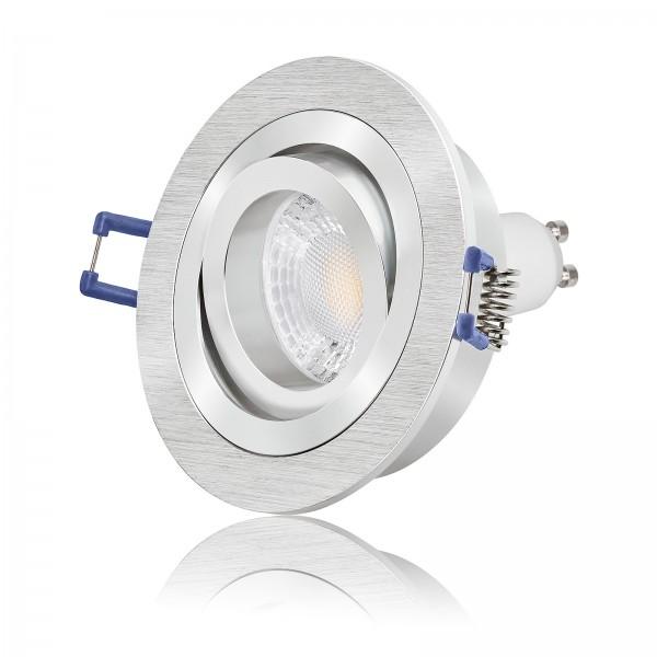 LED Einbaustrahler Set dimmbar & schwenkbar inkl. Bicolor Einbaurahmen 230V 7W GU10 2700K warmweiß mit Ra>93