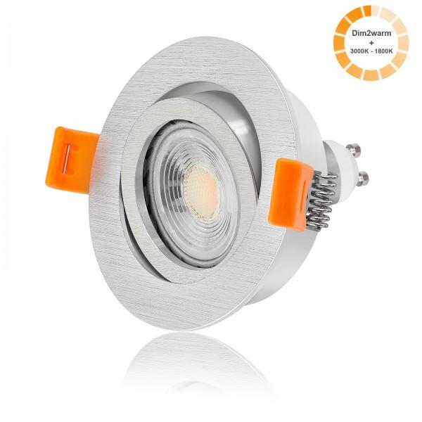 LED Einbaustrahler Set dimmbare Farbtemperatur 1800K-3000K inkl. Forma Einbaurahmen rund gebürstet 7W GU10 dimtowarm