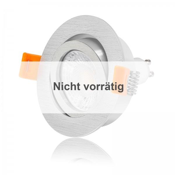 FORMA R LED Einbauleuchten Set dimmbar & schwenkbar inkl. Einbaurahmen gebürstet 230V 7W GU10 Ra93