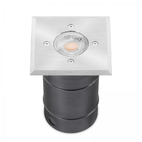 LED Bodeneinbaustrahler Set dimmbar & IP67 Blende Edelstahl 230V 7W GU10 230V Ra80