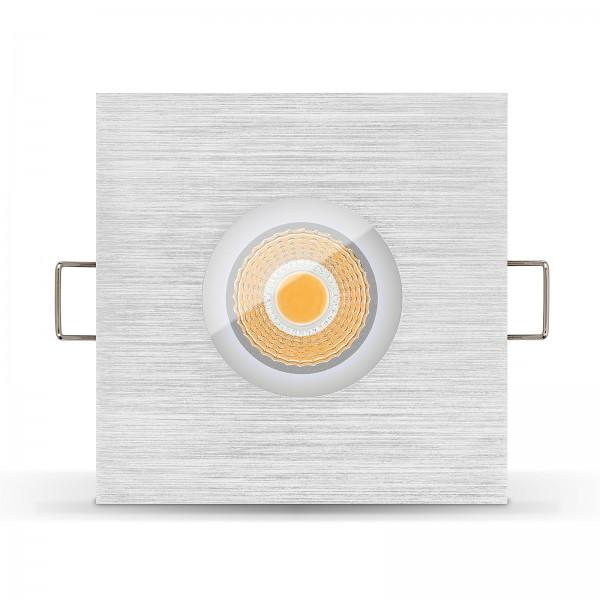 LED Bad Einbaustrahler Set IP65 - dimmbar inkl. Einbaurahmen gebürstet 230V 6W Feuchtraum